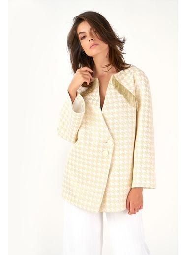 Women&Women Dore Kazayağı Desenli Beyaz Oversize  Blazer Ceket Beyaz